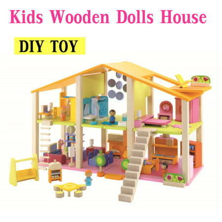 27.5 x 10.6 x 17.7'' Large Wooden Dollhouse with Full Furniture Building Blocks Toys Set DIY Doll House Kids Birthday New Year
