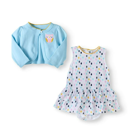Baby Girl Cardigan & Sleeveless Dress, 2pc Outfit Set