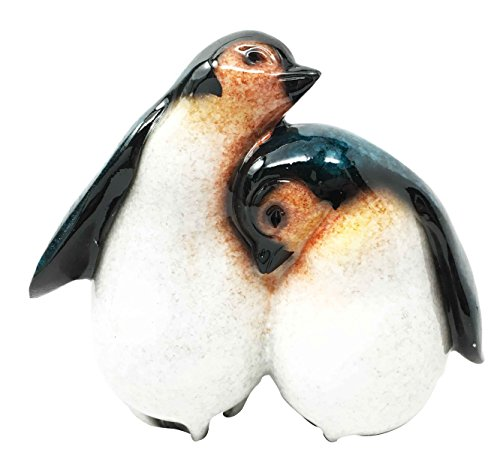 Antarctica Natural Habitat Emperor Penguin Sibling Chicks Cuddling Figurine Collectibles Sculpture