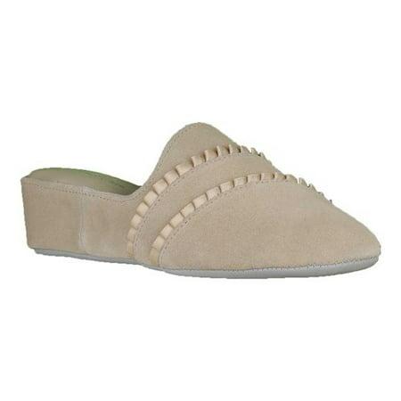 Daniel Green Womens Ruffle Leather Closed Toe Slip On Slippers