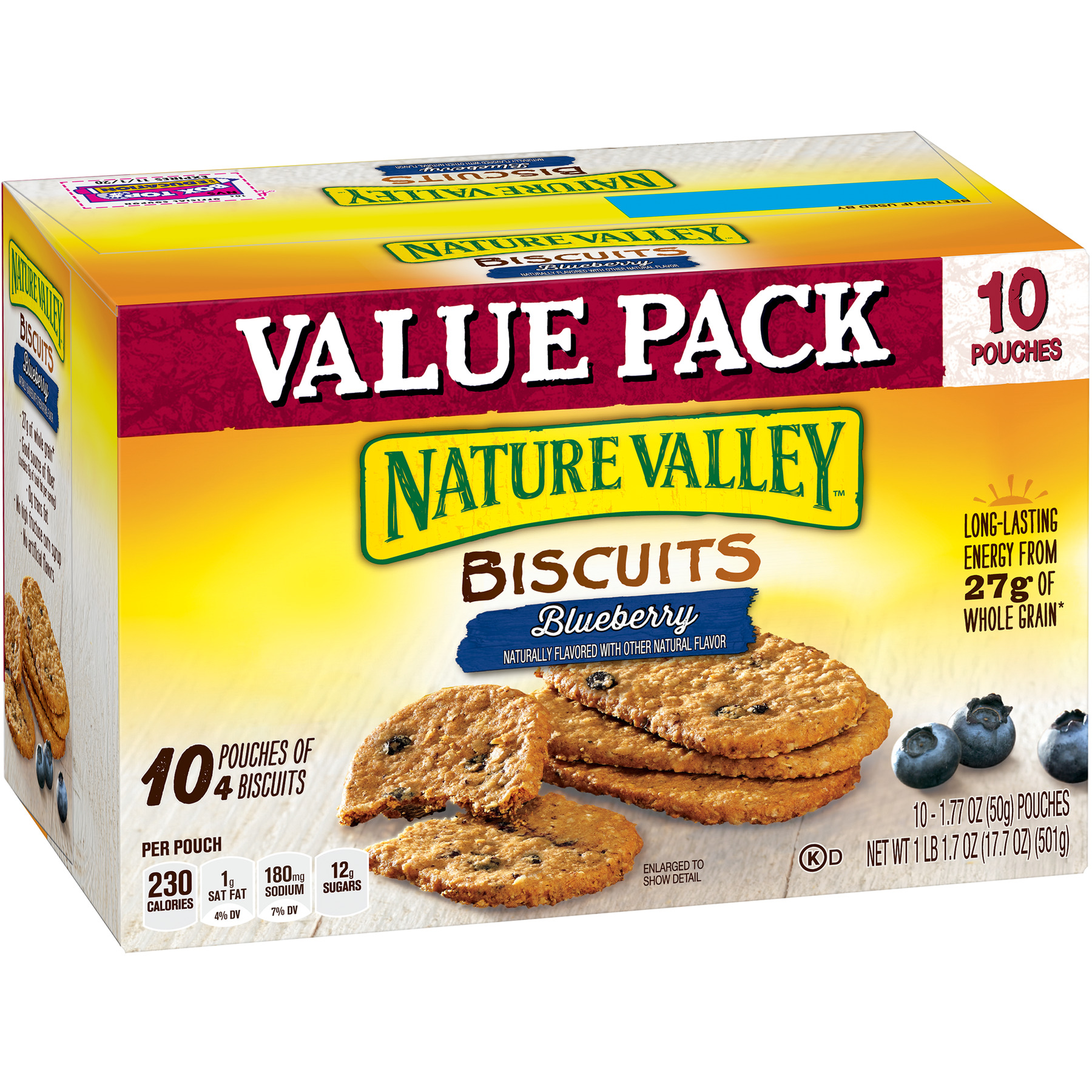 Nature Valley Breakfast Biscuits Blueberry 10 Pouches 4-Bars Per Pouch
