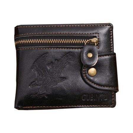 Men's American Eagle Wallet Black Color Billfold Bi-fold Outside Zipper, (The Best Mens Wallet In The World)