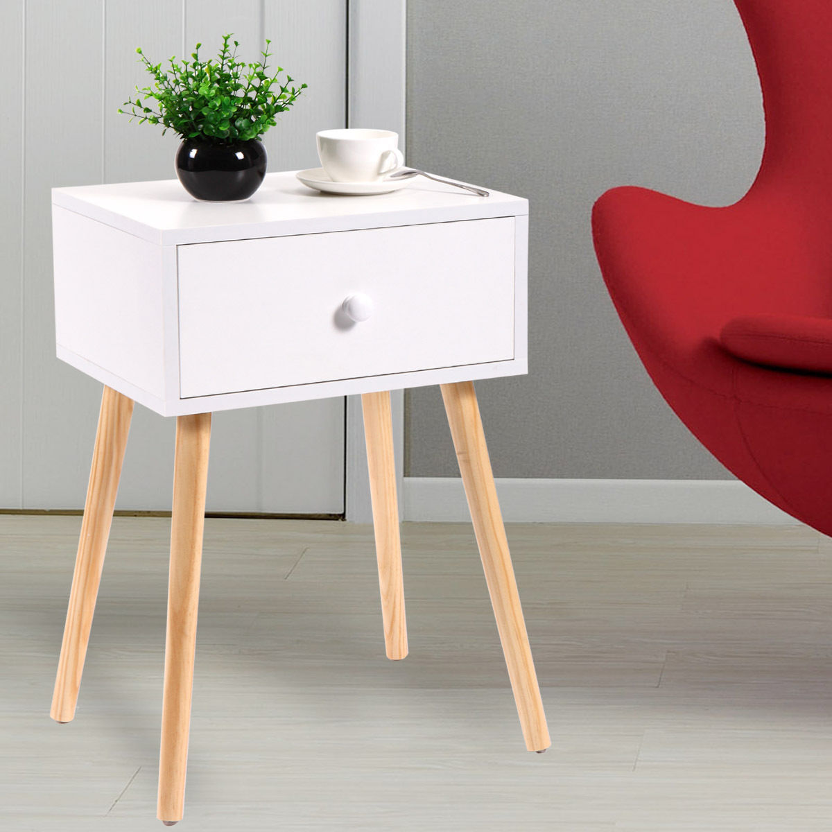 Set of 2 End Table Wood Storage Coffee Tea Table With Drawer Modern Living Room Furniture