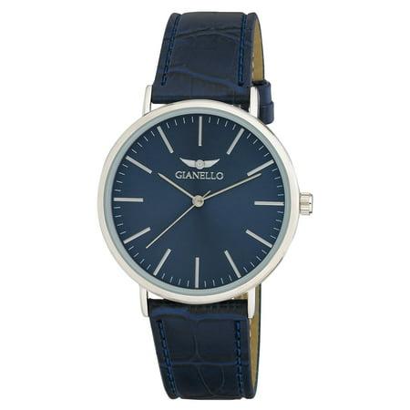 Gianello  GNL7714SS Unisex Silver Case Sleek Brown Leather Strap Watch - One (Silver Unisex Strap)