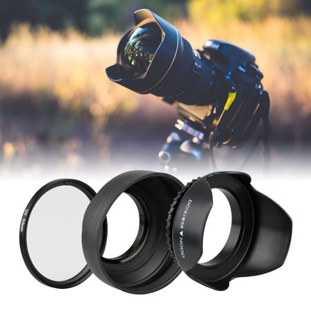 58mm Hard Lens Hood + 58mm Soft Lens Hood & 58mm UV Filter Lens Kit for Canon Rebel T7i T6S T6i T6 T5i T5 T4i T3i T3 T2i T1i XT XTi XSi