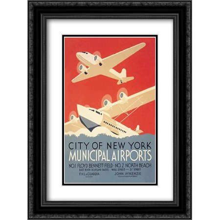 Black Airport (City of New York Municipal Airports (WPA) 2x Matted 18x24 Black Ornate Framed Art Print by Herzog, Harry)