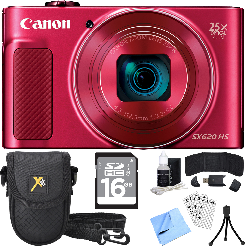 Canon PowerShot SX620 HS Digital Camera Red w/ Accessory Bundle includes Camera, 16GB SDHC Memory Card, Carrying Case, Mini Tripod, Screen Protectors, Cleaning Kit, Beach Camera Cloth and More