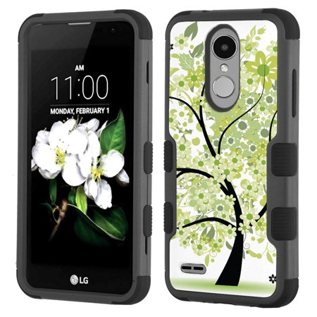 Shockproof Case for LG Aristo 2 / Tribute Dynasty, OneToughShield ? 3-Layer Hybrid Protector Phone Case (Black/Black) - Green Tree