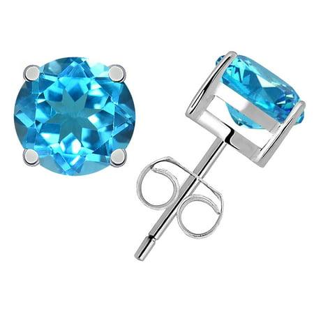 1.25 Carat Sky Blue Topaz 925 Sterling Silver Stud Earrings For Girls by Orchid (Blue Topaz Topaz Jewelry Box)
