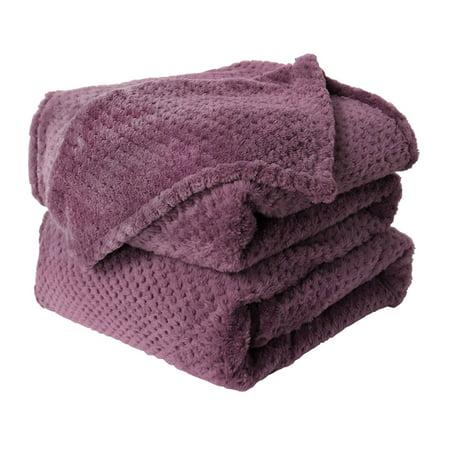 Soft Plush Fleece Bed Blanket Lightweight Flannel Blankets Twin Size, Purple ()