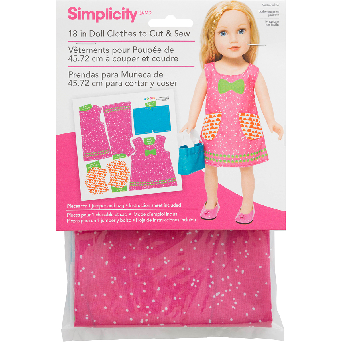 "Simplicity 18"" Doll Clothes To Cut & Sew-Speckled Dress W/Blue Purse"