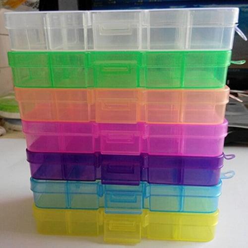 Girl12Queen Plastic 10 Slots Adjustable Jewelry Storage Box Pill Beads Holder Case Organizer