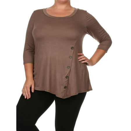 NEW MOA Women's Plus Size Solid Basic Knit Side Button Trim Tunic Top Tee/Made in USA