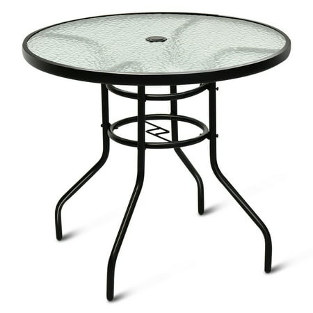 - Costway 32'' Patio Round Table Tempered Glass Steel Frame Outdoor Pool Yard Garden