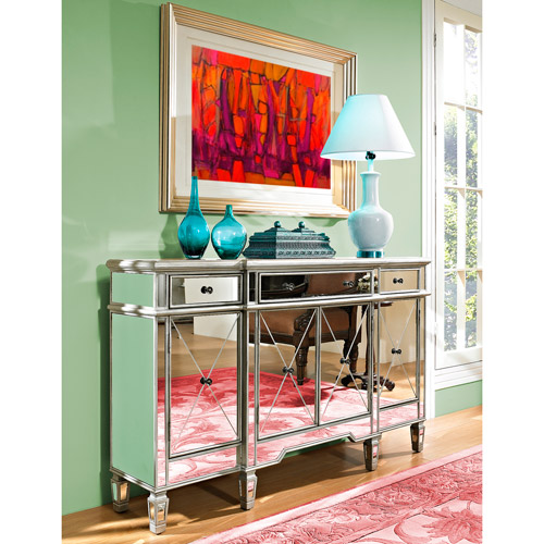 Mirrored 3-Drawer and 4-Door Console Table, Silver