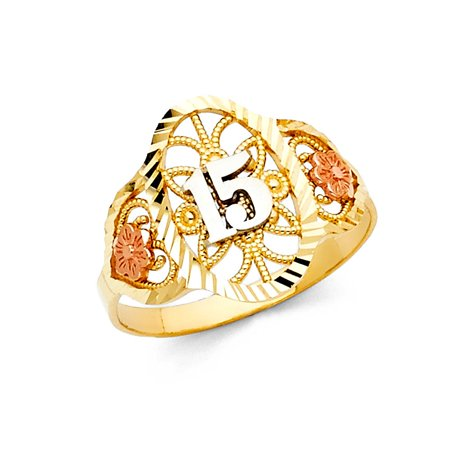 14k Tri Colored Tone Italian Gold 16mm Oval Multi Flower Floral Quinceanera 15 Anos Birthday Ring Size 8.5 Available All Sizes