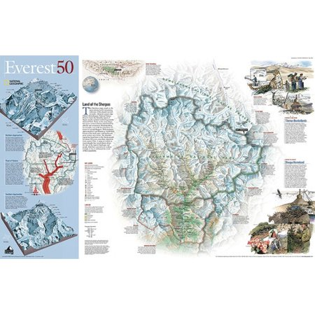 National Geographic Maps Mount Everest 50Th Anniversary Wall Map  Two Sided