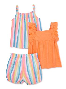 Wonder Nation Baby Girls Solid & Printed Flutter Sleeve Top & Bloomer Shorts, 3-pc Outfit Set