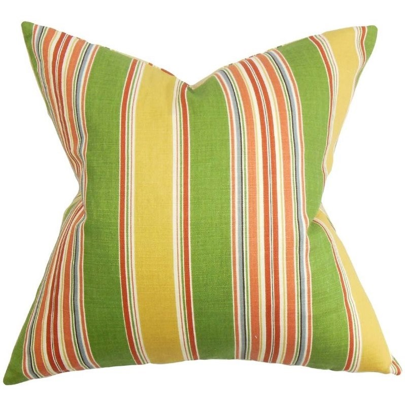 "The Pillow Collection 18"" Square Hollis Stripes Throw Pillow by The Pillow Collection"