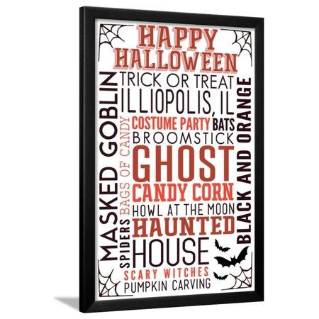 Illiopolis, IL - Happy Halloween - Typography with Bats Framed Print Wall Art By Lantern Press