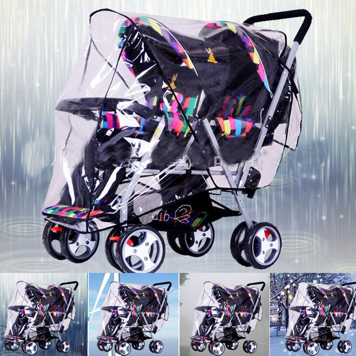 Baby Stroller Universal Pram Infant Twins Double Pushchair With Wind