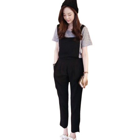Suede Uniform (MarinaVida Women Ankle-length Pants Side Zipper Fly Solid Black High Waist casual)