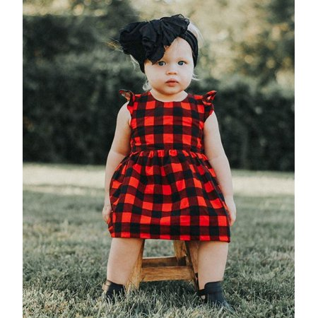 Girl Dress Newborn Kids Girls Baby Short Sleeve Plaid Ruffles Kids Princess Dress Casual Fairy Dress Party Beach Dress Sundress for 0M-3Yrs - Fairy Dresses For Children