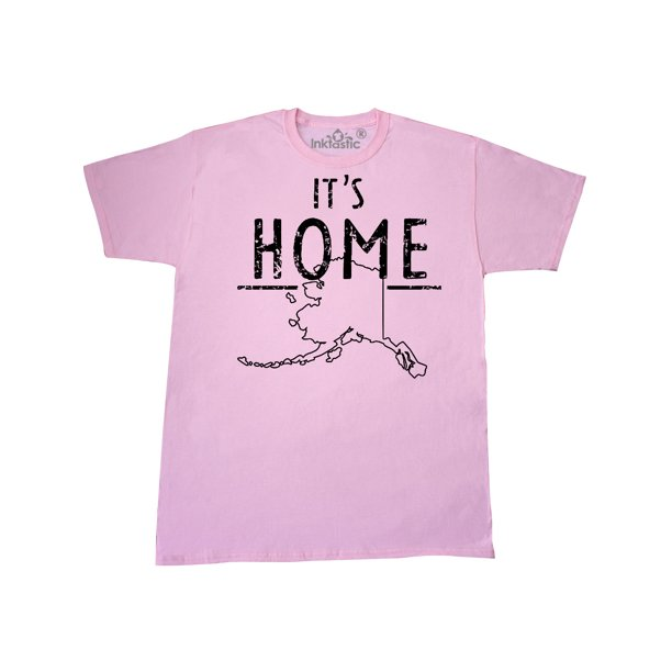 It's Home- Alaska State Outline Distressed Text T-Shirt