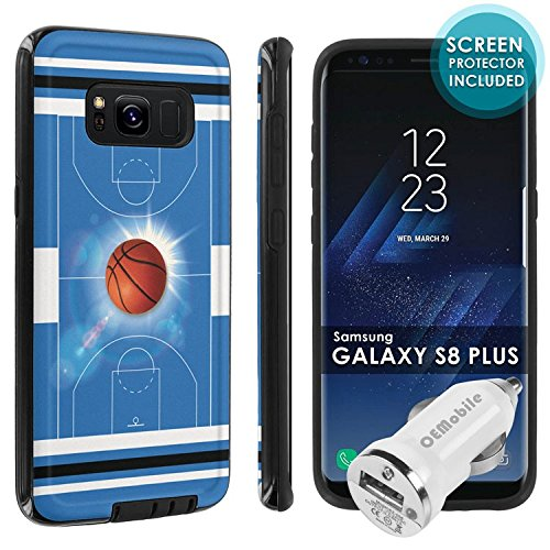 Galaxy S8Plus [Skinguardz] [Black/Black] Shock Absorbent Hybrid Armor Case [Screen