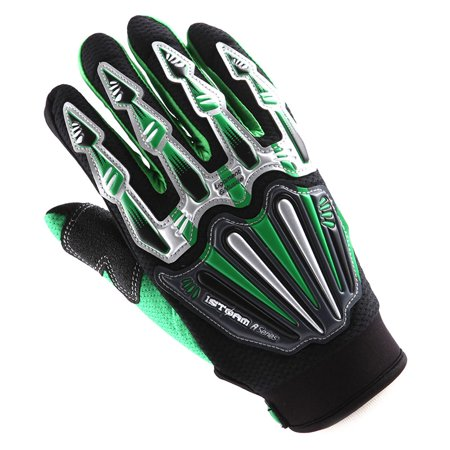 WOW Motocross Skeleton Glove - Motorcycle BMX MX ATV Dirt Bike Green