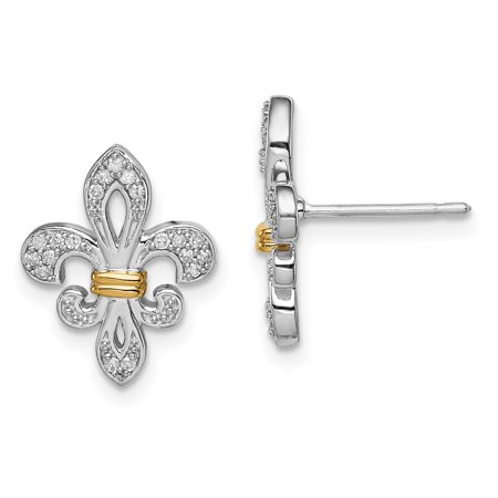 925 Sterling Silver 14k Yellow Gold Diamond Fleur De Lis Post Stud Earrings Fine Jewelry For Women Valentines Day Gifts For Her - image 6 de 6