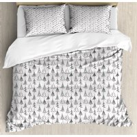 Tree Queen Size Duvet Cover Set, Doodle Pattern Ornamental Sketch Style Drawing Christmas Tree Stars Illustration, Decorative 3 Piece Bedding Set with 2 Pillow Shams, Black Grey Red, by Ambesonne