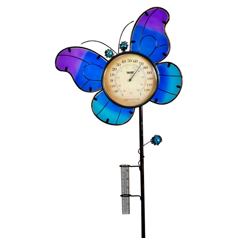 Transcontinental Outdoor Butterfly Temperature and Rain Gauge Garden Stake by