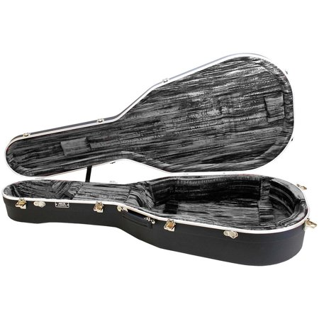 000 Acoustic Guitar Case - Hiscox Cases Liteflite Artist Acoustic Guitar Case - Black Shell/Silver Interior