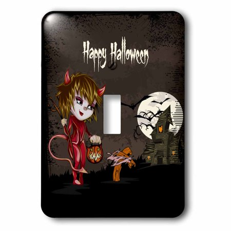 3dRose Happy Halloween Devil Girl Trick Or Treating Haunted House Spooky Halloween Scene - Single Toggle Switch (lsp_129770_1) - Happy Halloween Trick Or Treating