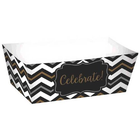 Black, Silver, and Gold Chevron Mini Rectangle Trays (24ct)