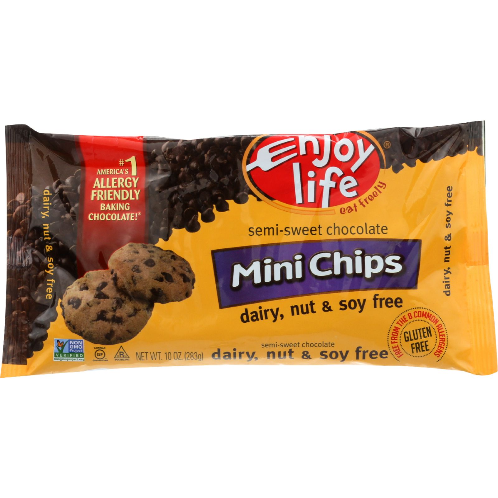 Enjoy Life Baking Chocolate Mini Chips Semi-Sweet Gluten Free 10 oz case of 12 by