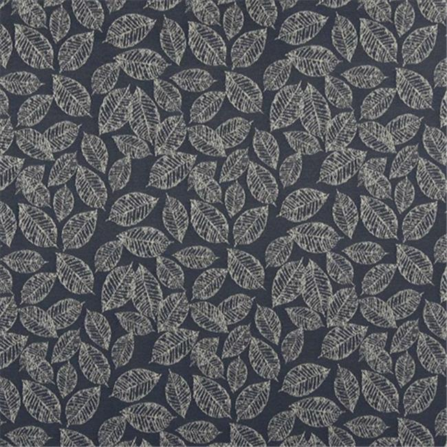 Designer Fabrics B618 54 in. Wide Navy Blue, Floral Leaf Jacquard Woven Upholstery Fabric