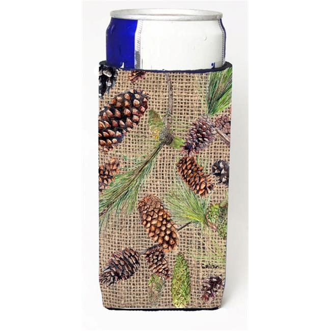 Carolines Treasures 8735MUK Pine Cones On Faux Burlap Michelob Ultra bottle sleeves For Slim Cans - 12 oz. - image 1 de 1