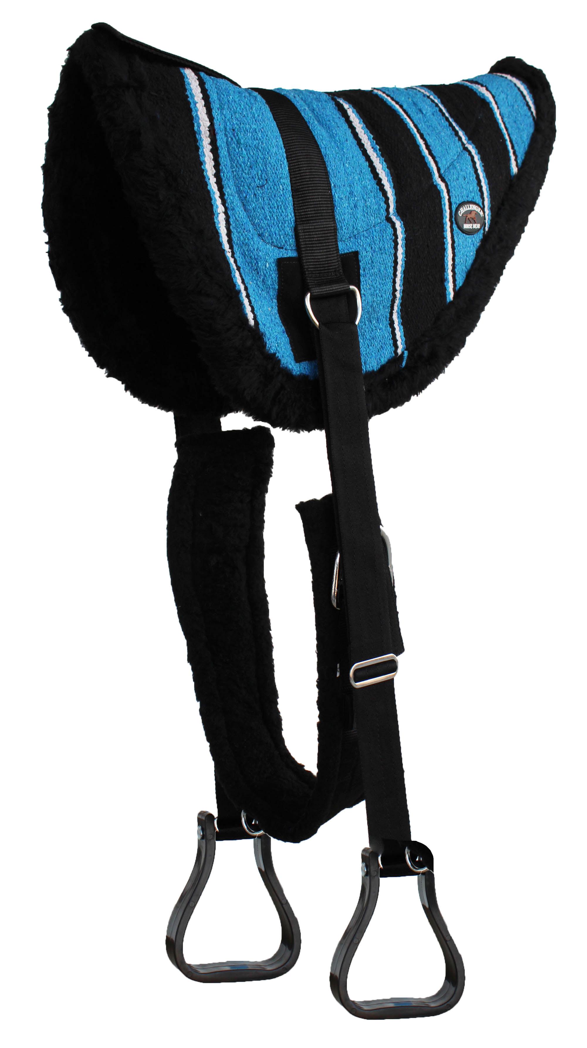 JUNIOR Treeless LEATHER BAREBACK PAD Comfort PONY SADDLE PAD with SAFETY HANDLE