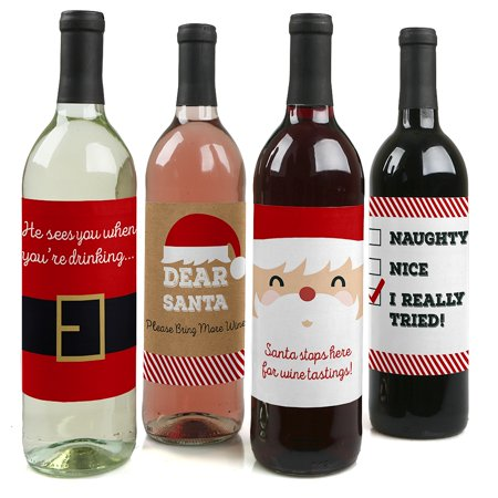 Funny Jolly Santa Claus - Christmas Party Decorations for Women and Men - Wine Bottle Label Stickers - Set of 4 - Wedding Wine Bottle Labels