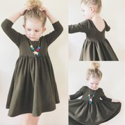 Toddler Baby Girl Kid Long Sleeve Backless Dress Christmas Party Pageant Dresses 1-6Y