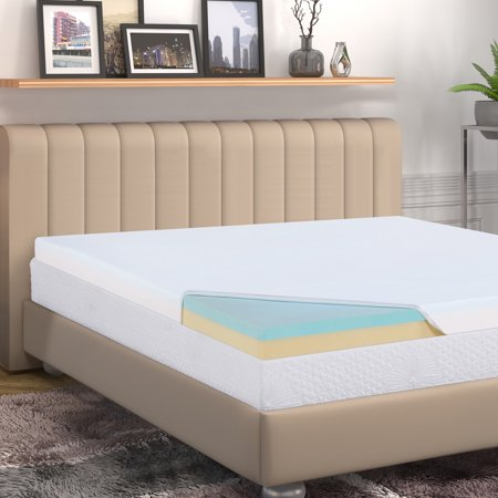 "GranRest 4 "" 2 Layer Comfort Memory Foam Mattress Topper, Twin"