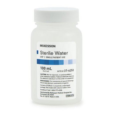 McKesson Irrigation Solution  Sterile Water  Bottle, Screw Top 100 mL 1 Count