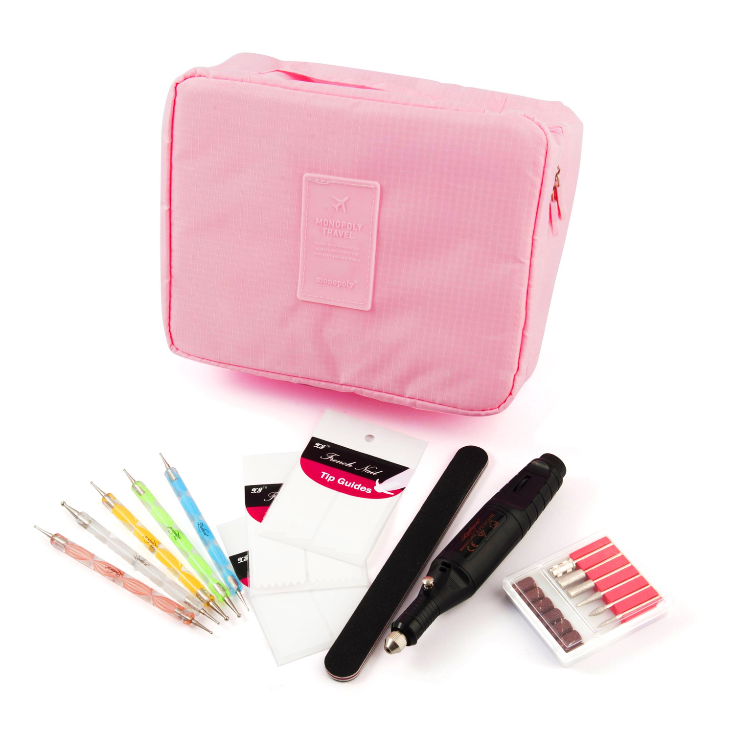 Zodaca 7-piece Nail Art Luxury Gift Set of Electric Manicure Pedicure Tool, File, Stickers, Pens & Travel Cosmetic Bag