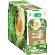 (8 Pack) Happy Baby Organics Baby Food, Apples, Kale & Avocados, 4 oz
