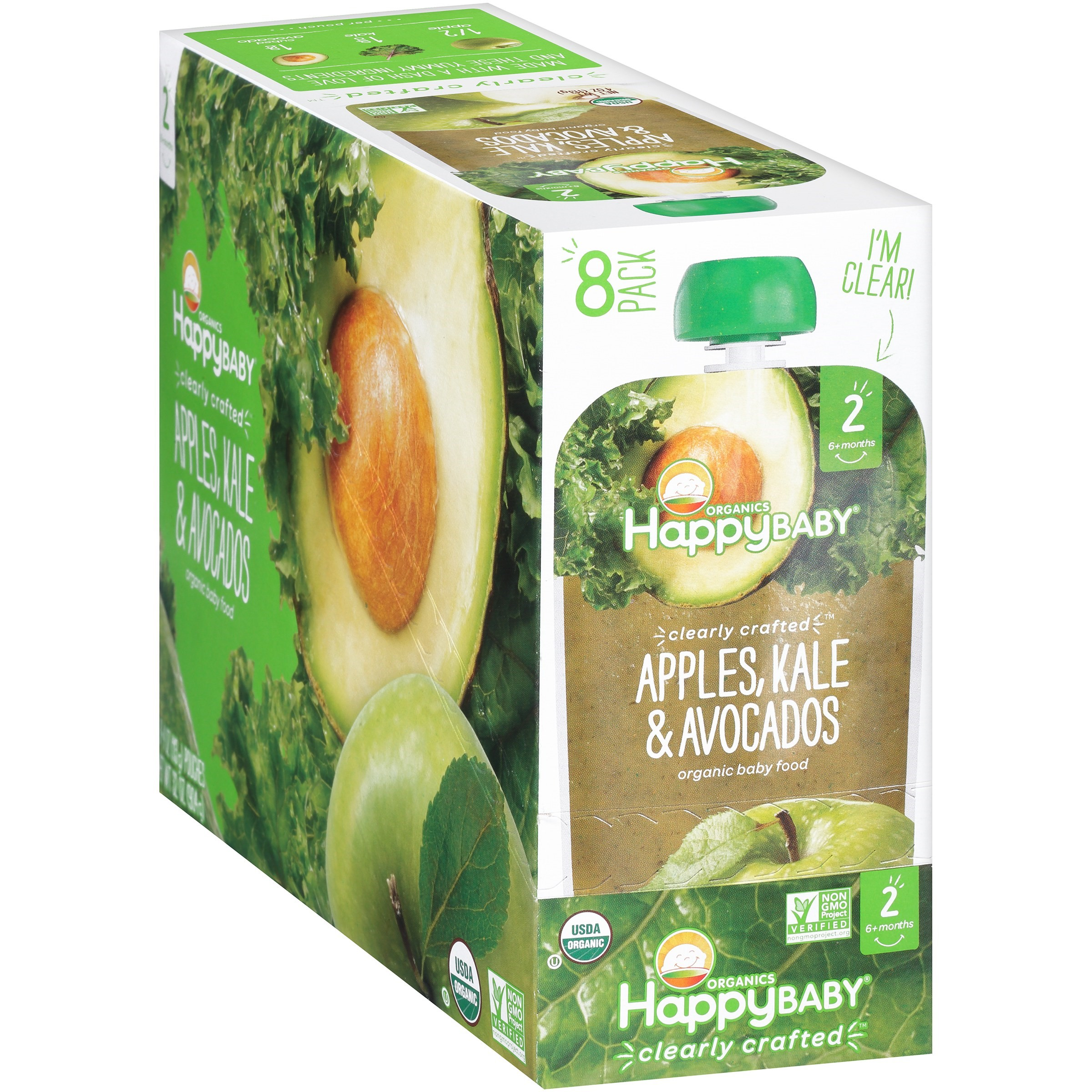 Happy Baby Organics Baby Food, Apples, Kale & Avocados, 4 Oz x 8