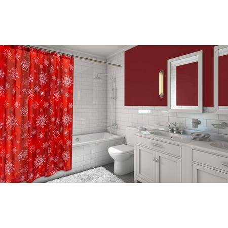 Santas Goodie Box - Santas Goodie Bag 16-Piece Bath Set: 1 Shower Curtain, 12 Fabric Covered Hooks, 1 Lotion Pump and 2 Hand Towels - Holiday Snow