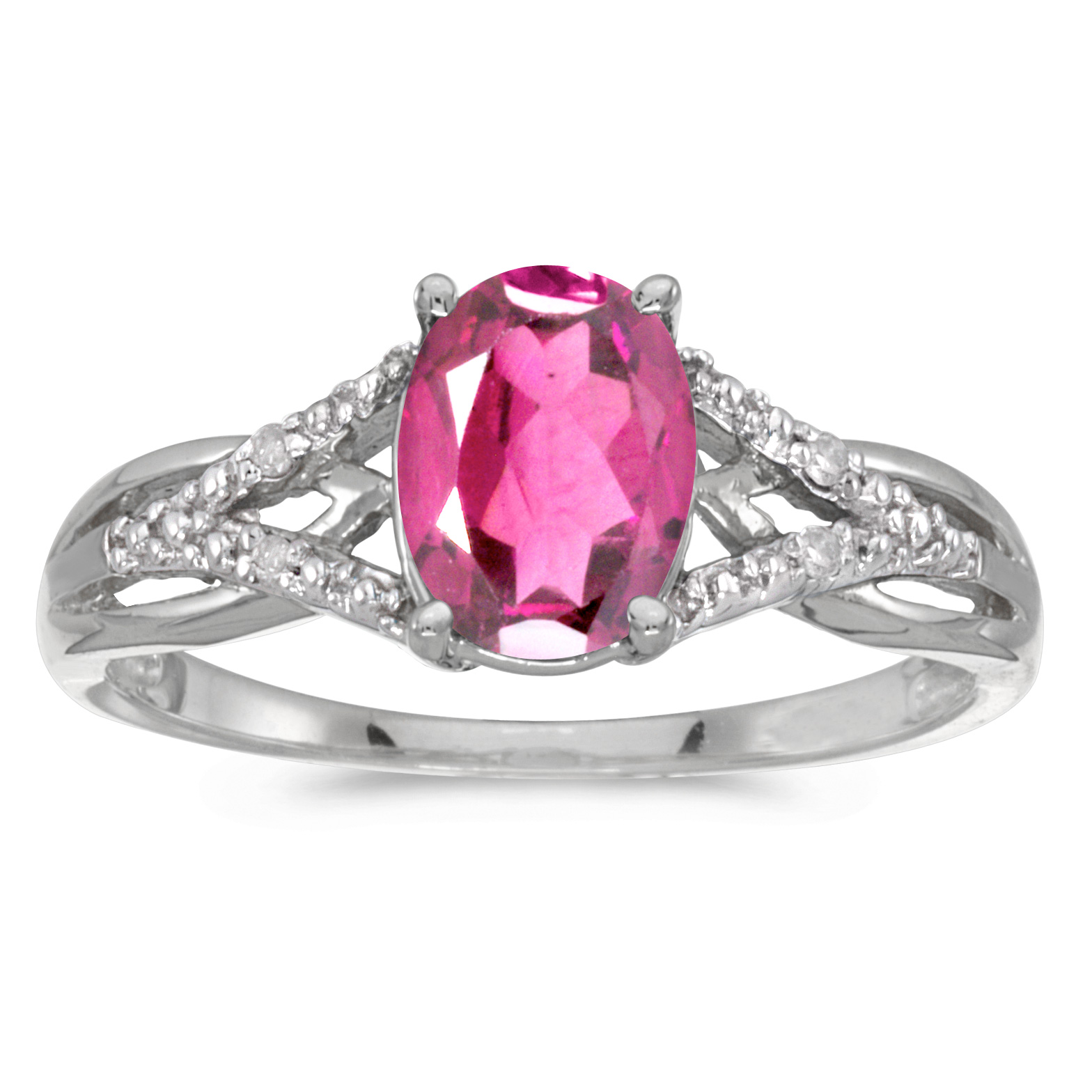 14k White Gold Oval Pink Topaz And Diamond Ring by