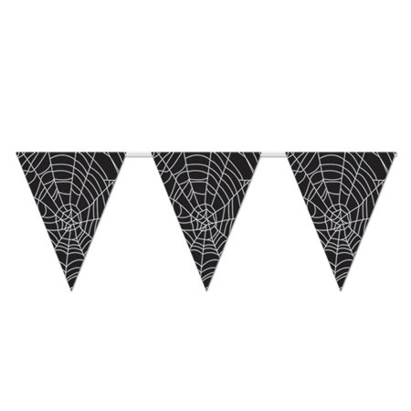 Club Pack of 12 Halloween Spider Web Pennant Banner Party Decorations 11
